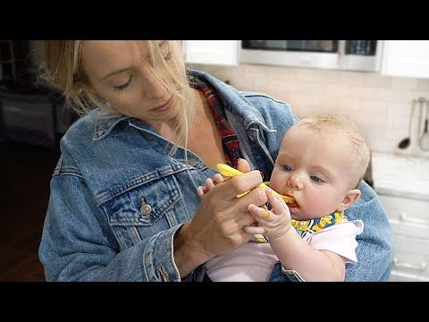 BABY TRIES FOOD FOR THE FIRST TIME!