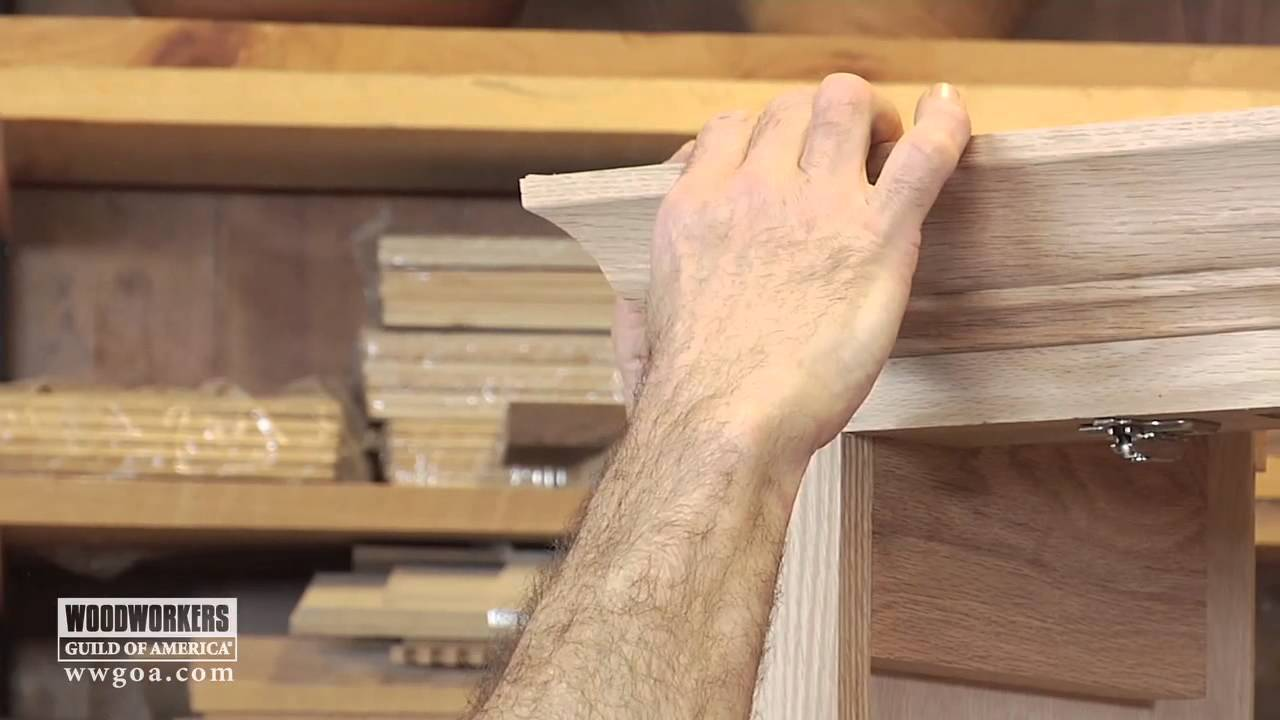 woodworking diy project installing crown molding on a cabinet rh youtube com how to install crown moulding on top of kitchen cabinets Glazed Kitchen Cabinets