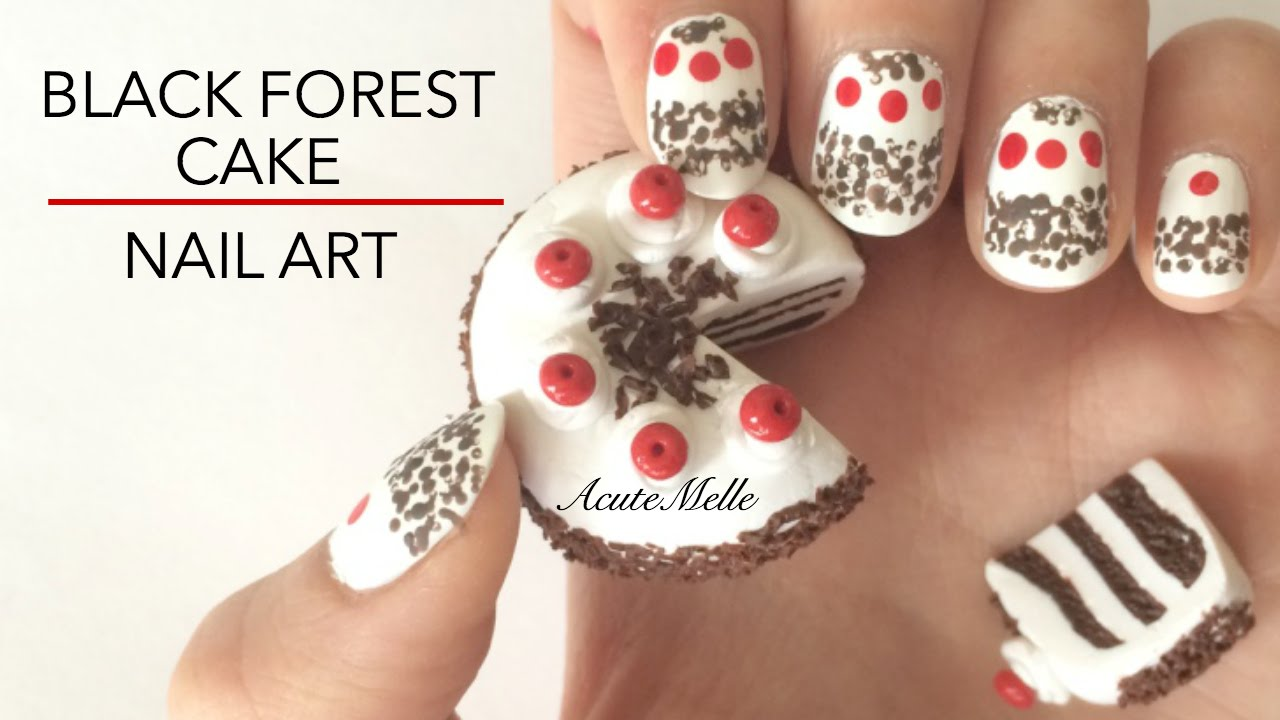 Cake Nail Art Design : Nail Art - Black Forest Cake Inspired - YouTube