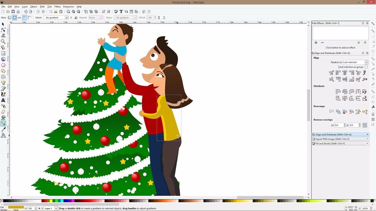 Drawing a family christmas card with Inkscape 2016! - YouTube