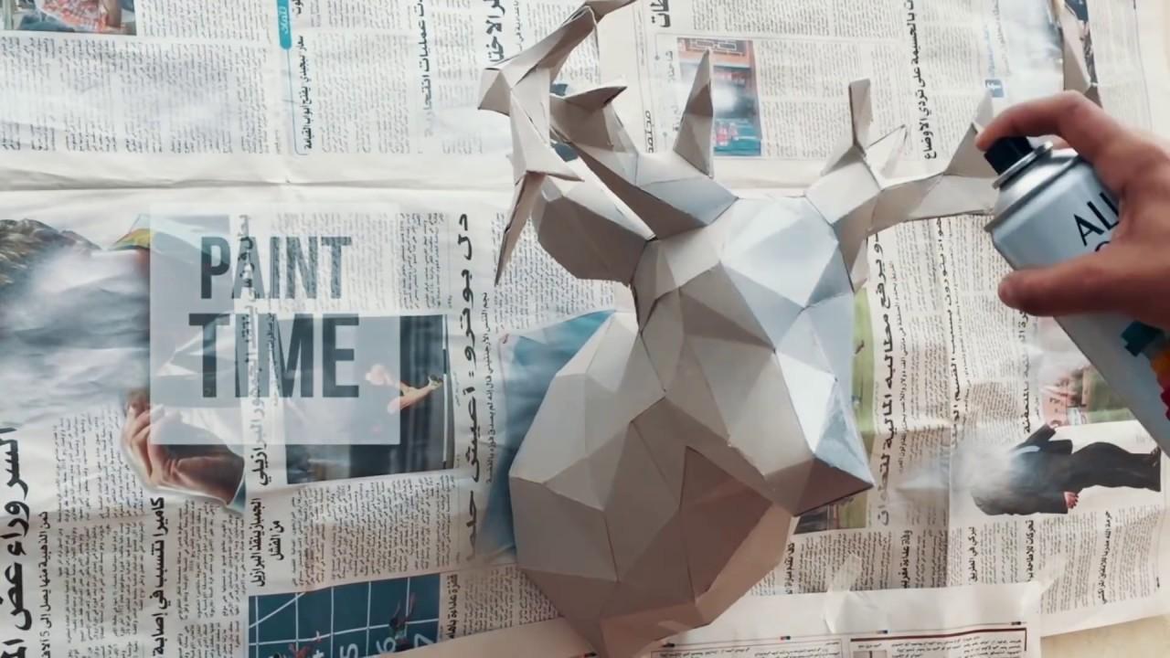 DIY lowpoly model trophy papercraft 3d pepakura 3D Puzzle diy paper mask PDF template papermodel 3D