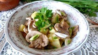 Салаты рецепты простые  Салат с шампиньонами и кабачками