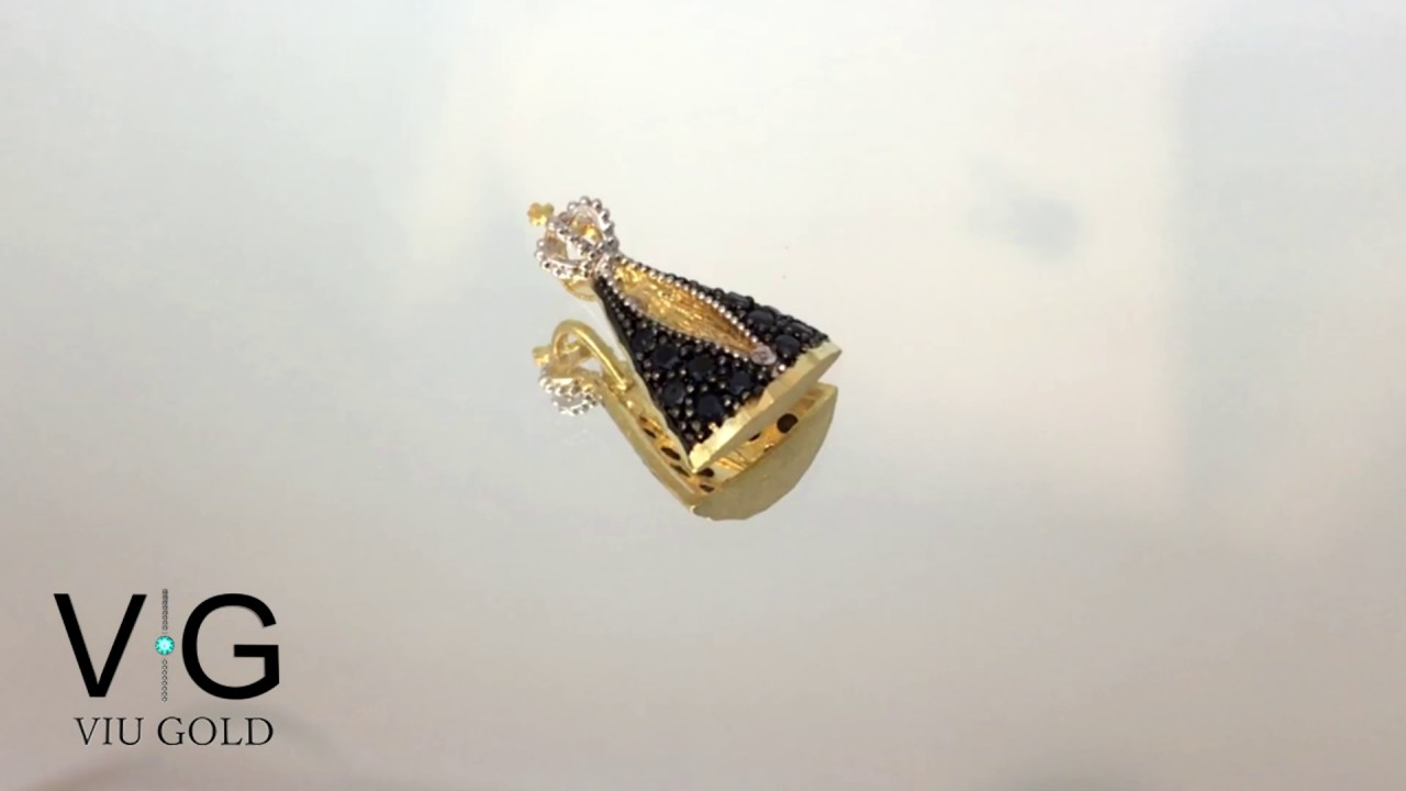 dc00bc85e875c Pingente de Nossa Senhora Aparecida em ouro 18k com Safira Azul - VIU GOLD  JOALHERIA ONLINE