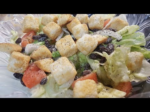 ASMR/fresh Garden Salad w/Butter Garlic Croutons(extreme crunch)! No Talking!!(for real!)