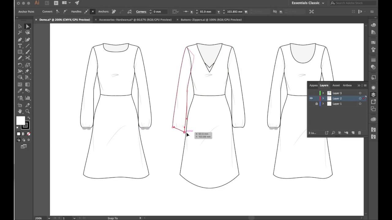 Cad For Fashion Adobe Illustrator For Fashion Design Demo Youtube