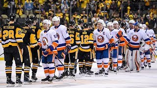 Islanders meet penguins at center ice to shake hands after sweep