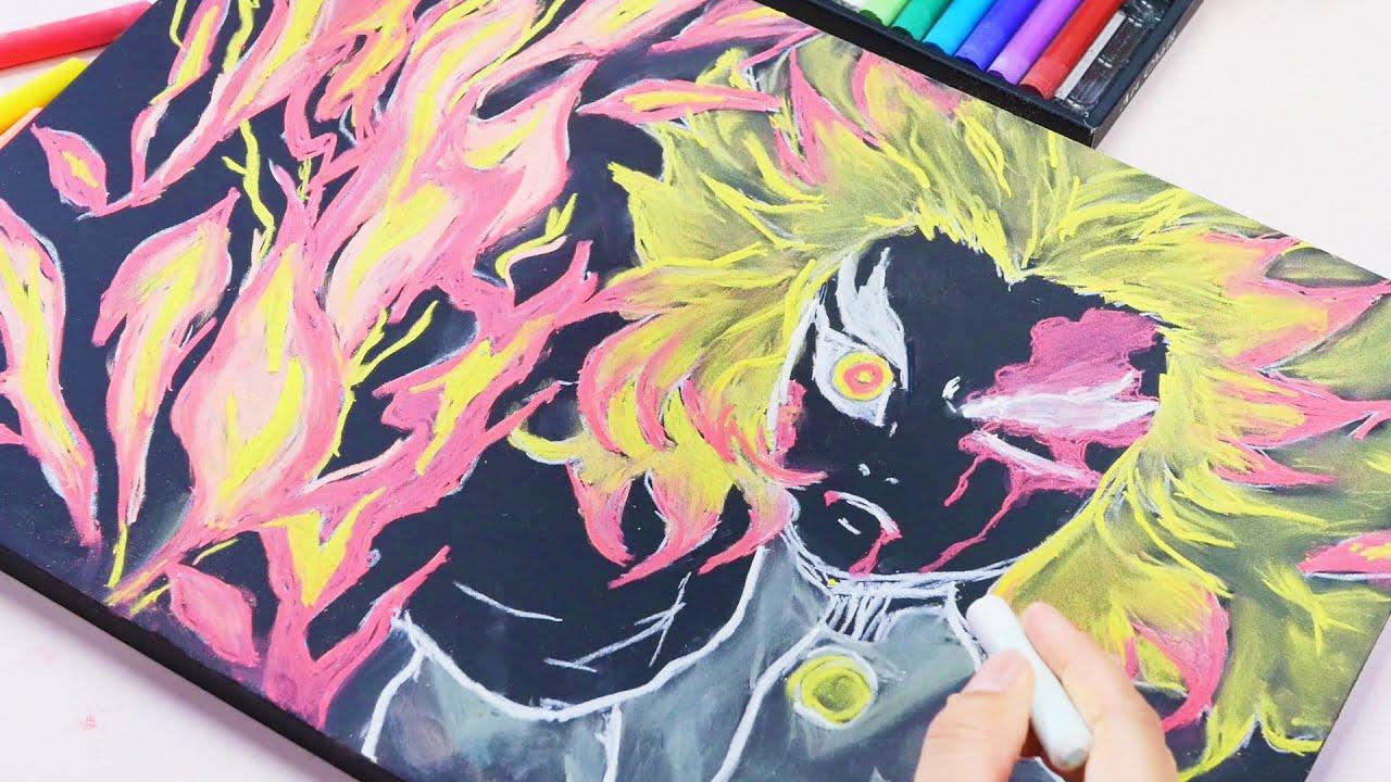 【ASMR】Chalkboard Drawing ~Demon Slayer - Kimetsu no Yaiba Mugen Train~ 黒板に煉獄さんを描く 黒板アート【音フェチ】