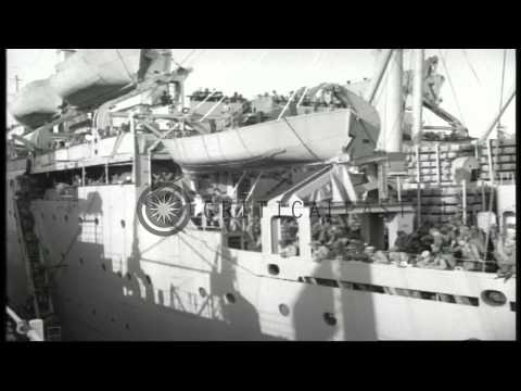 Delta Force troops disembark with supplies from USS Upshur at a dock in Beirut, L...HD Stock Footage