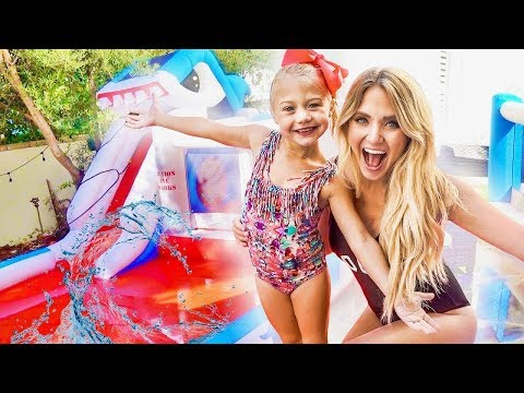 We put a GIANT inflatable WATERPARK in our backyard!!! (THEY WERE SO SURPRISED)