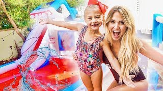 Download We put a GIANT inflatable WATERPARK in our backyard!!! (THEY WERE SO SURPRISED) Mp3 and Videos