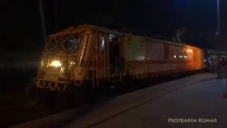 departure of first electric train from gorakhpur tkd wap7 led gkp sv pass departs gkp pf 2a