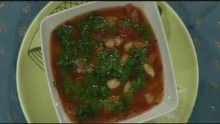Vegan Tuscan white bean and garlic greens soup