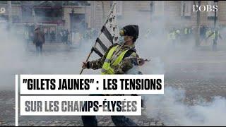 Gilets jaunes : les images des violences sur les Champs-Elysées