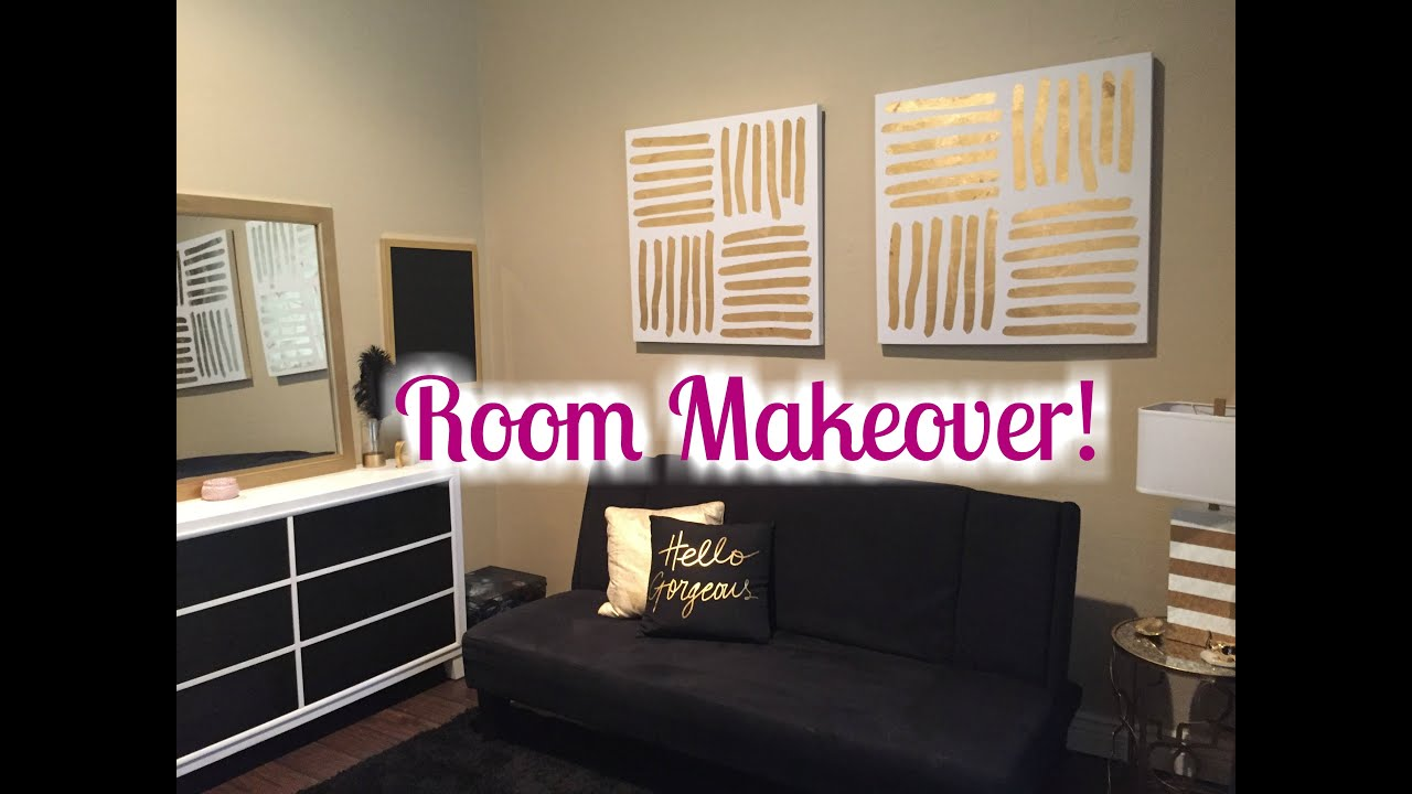 room makeover 2016 black white gold theme youtube. Black Bedroom Furniture Sets. Home Design Ideas