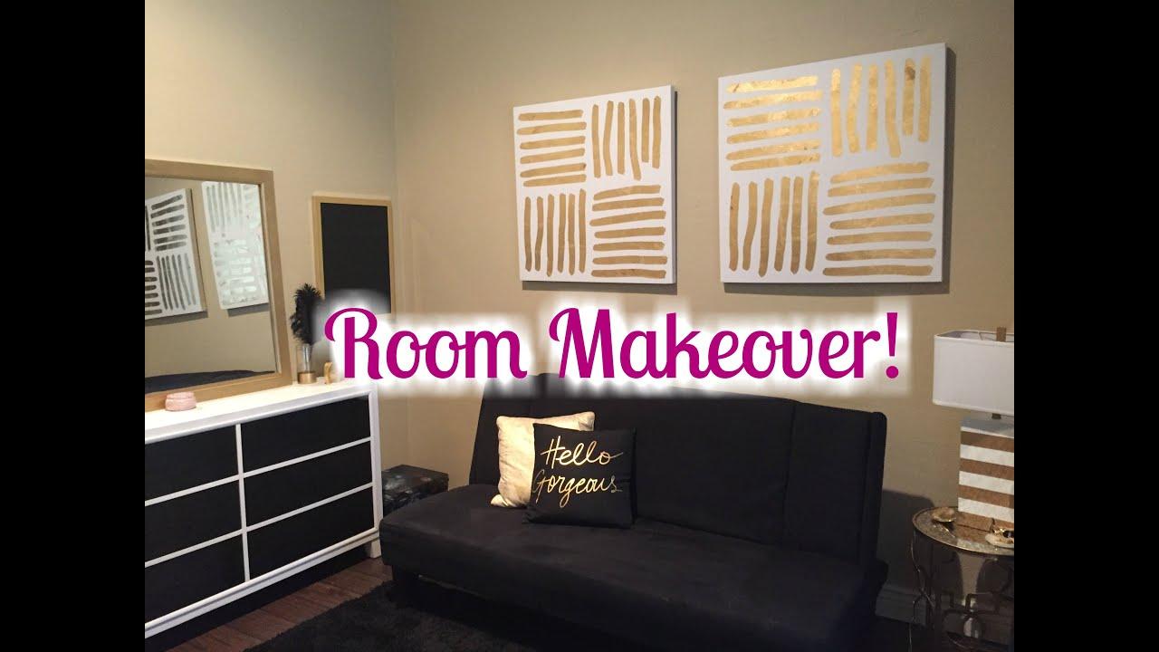 ROOM MAKEOVER 2016   Black, White, Gold Theme! - YouTube