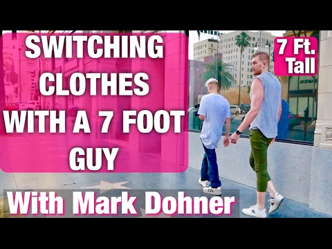 switching-clothes-with-a-7-foot-human!-reactions