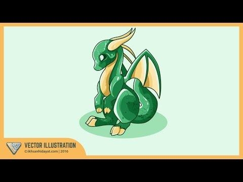 How to Draw Baby Dragon - Illustrator Tutorials