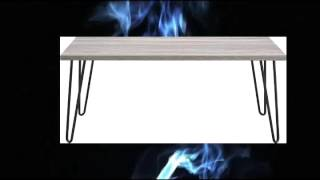 Altra Furniture Owen Retro Coffee Table With Metal Legs Sonoma Oak Gunmetal Gray