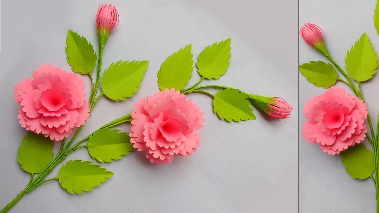 Download Diy Paper Flowers - কাগজের ফুল বানানো - kagojer Ful - Diy Paper Flower Stick - Diy Paper Crafts