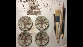 Sgraffito a Tree on Redware by Denise Wilz