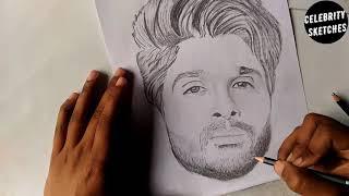 Drawing Allu Arjun Timelapse || CELEBRITY SKETCHES ||