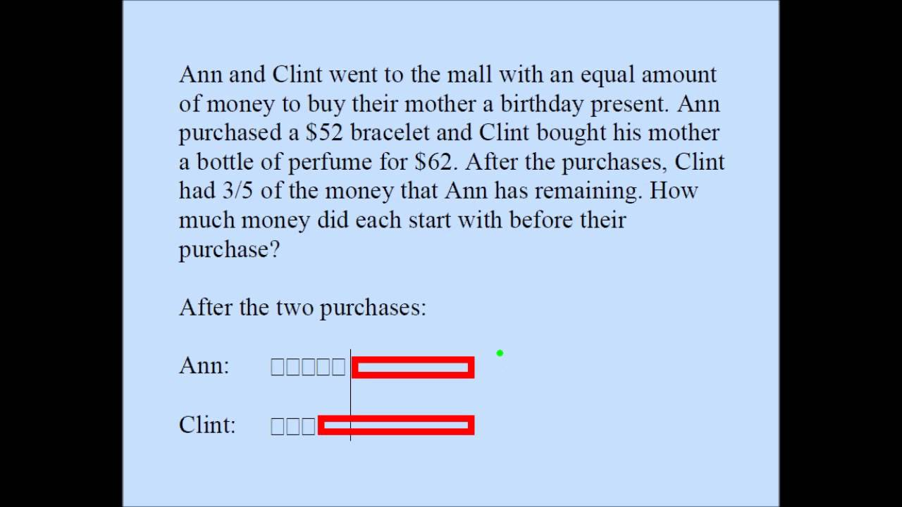hight resolution of Fraction Word Problem (Singapore Math) - YouTube