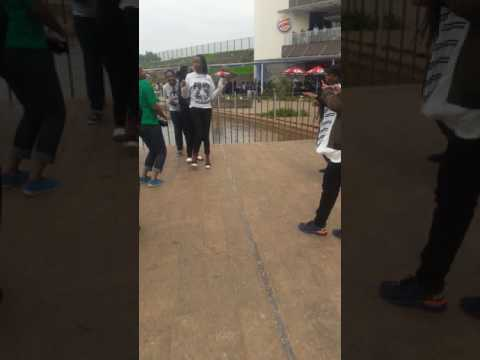 Funny African girls dancing in two rivers