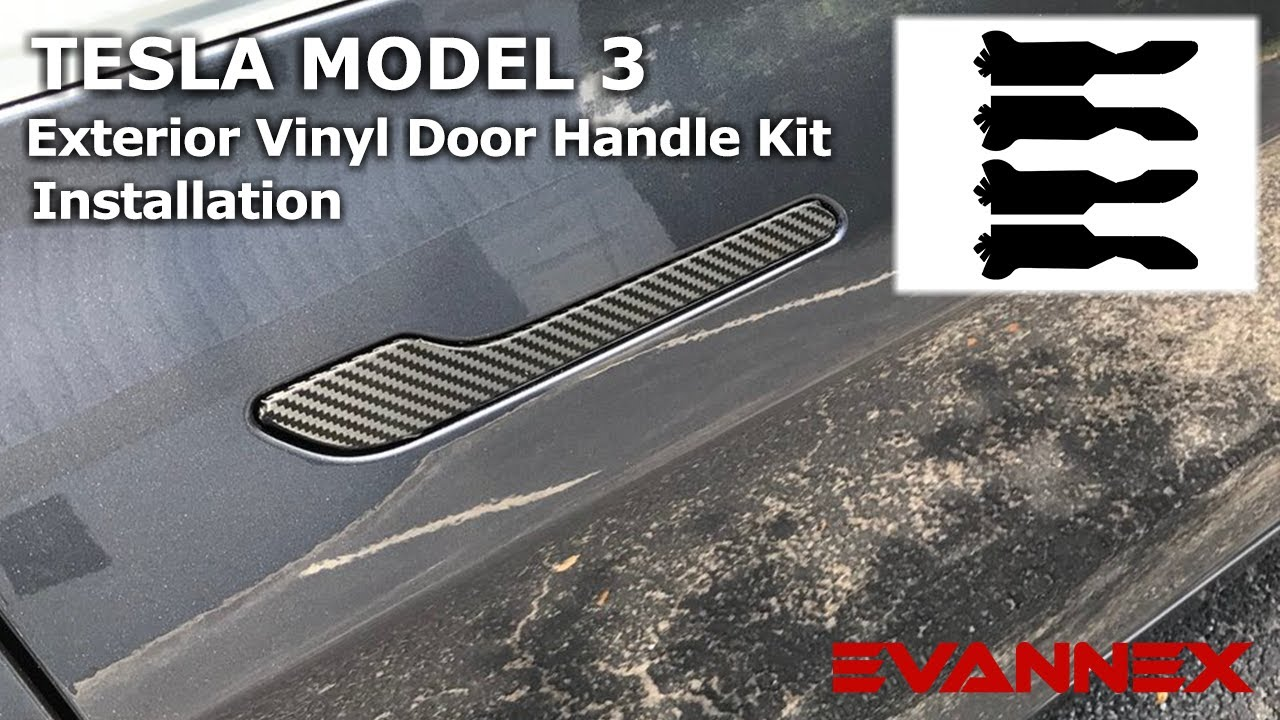 vinyl carbon fiber door handle kits for tesla model 3
