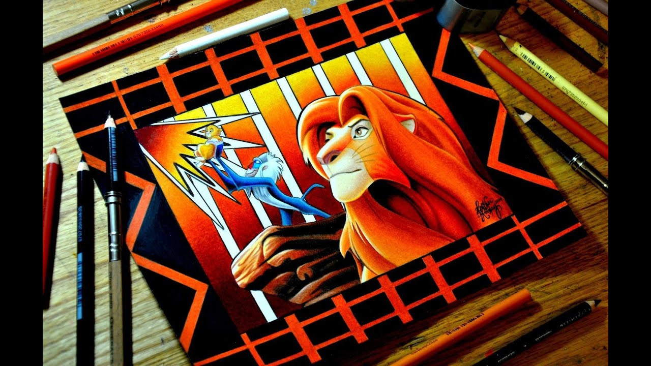 The Lion King Colored Pencil Drawing Youtube