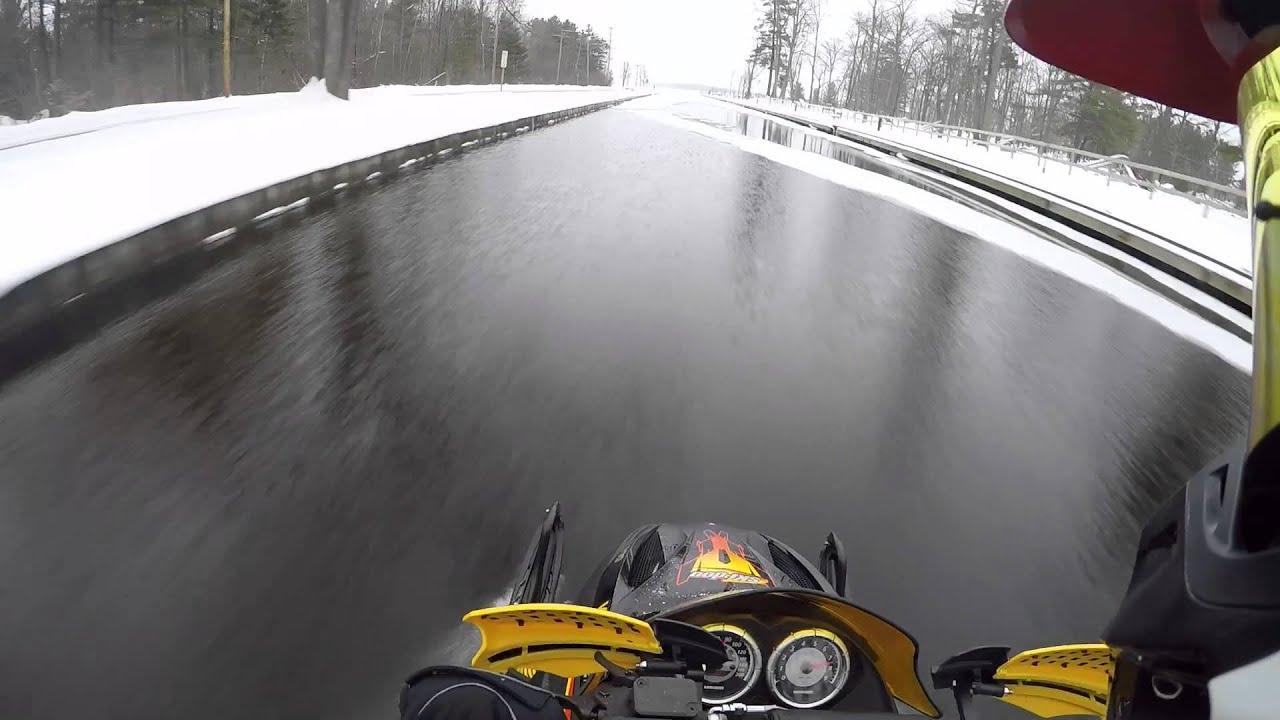 Lake Cadillac/Mitchell Canal Snowmobile Run - YouTube