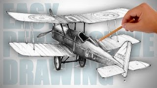 How to draw a retro airplane (World War I)  - Easy Perspective Drawing 20