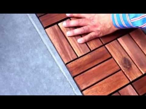30x30cm Geçmeli Akasya Ağacı Ahşap Yer Karosu Balkon Teras Zemin Kaplama
