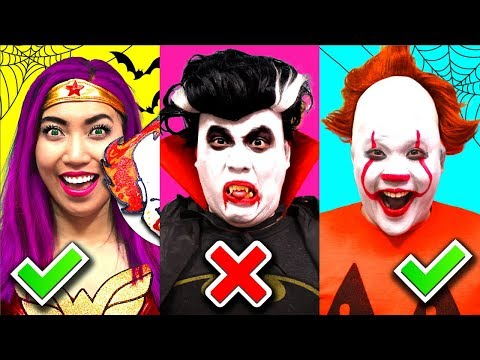 Halloween Pumpkin Carving Challenge!!! Pennywise Vs Pumpkin Girl! (CC Available)