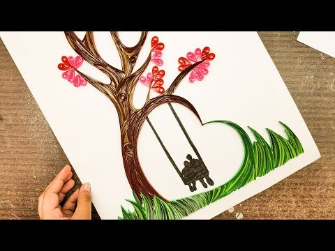 ideas for home decoration   Quilling wall art   home decor   quilling designs   valentine's special