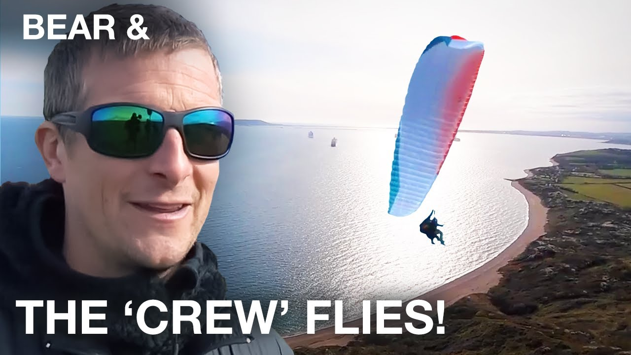 Paragliding on the Job   Bear Grylls Road Trip   Bear &