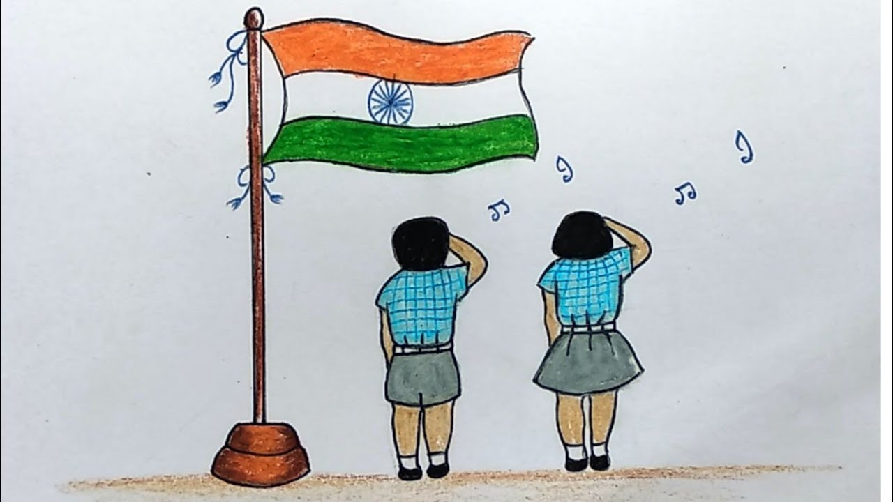 Easy Drawing Of Republic Day Celebrations | Indian National Flag Drawing  for Kids - YouTube