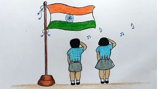 Easy Drawing Of Independence Day Celebrations Indian National Flag Drawing for Kids YouTube