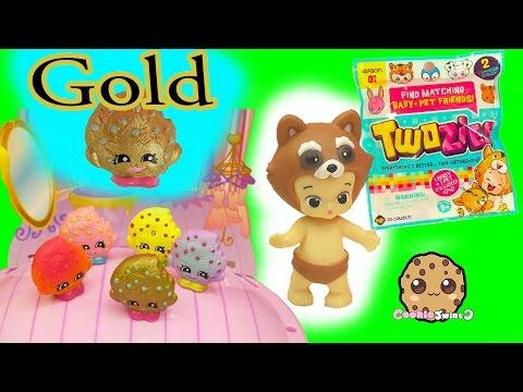 Shopkins Exclusive Gold Kooky Cookie Swapkins Party Season 5 Pack + Twozies Baby Blind Bags