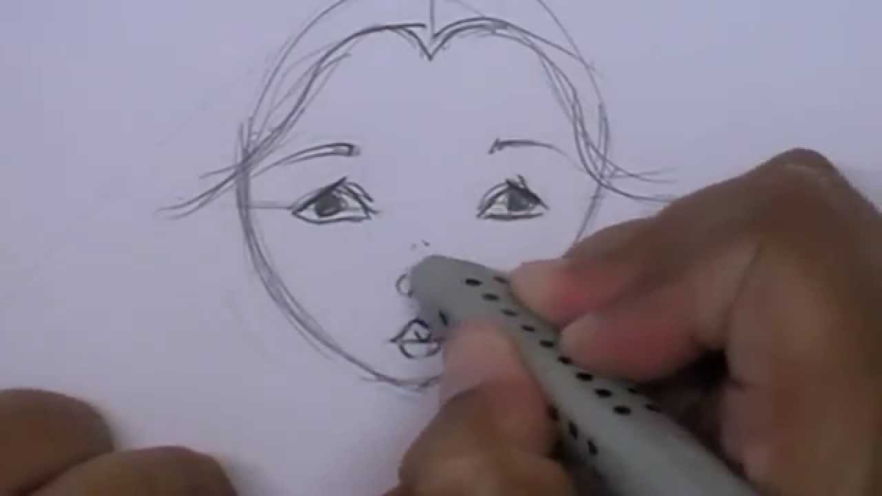 Drawing A Doll Face - YouTube