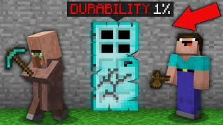Minecraft NOOB vs PRO: WHO NOOB VS VILLAGER CAN BREAK DIAMOND DOOR WITH 1% DURABILITY? 100% trolling