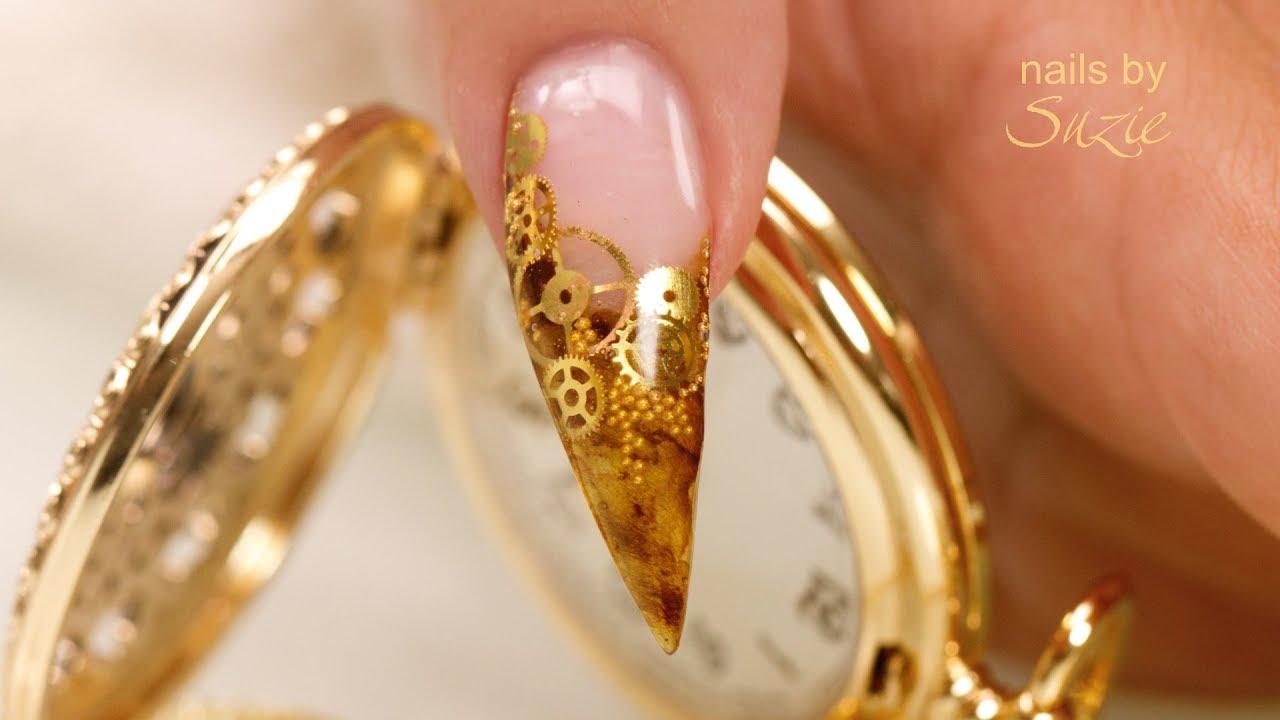 steampunk gel inlay nails