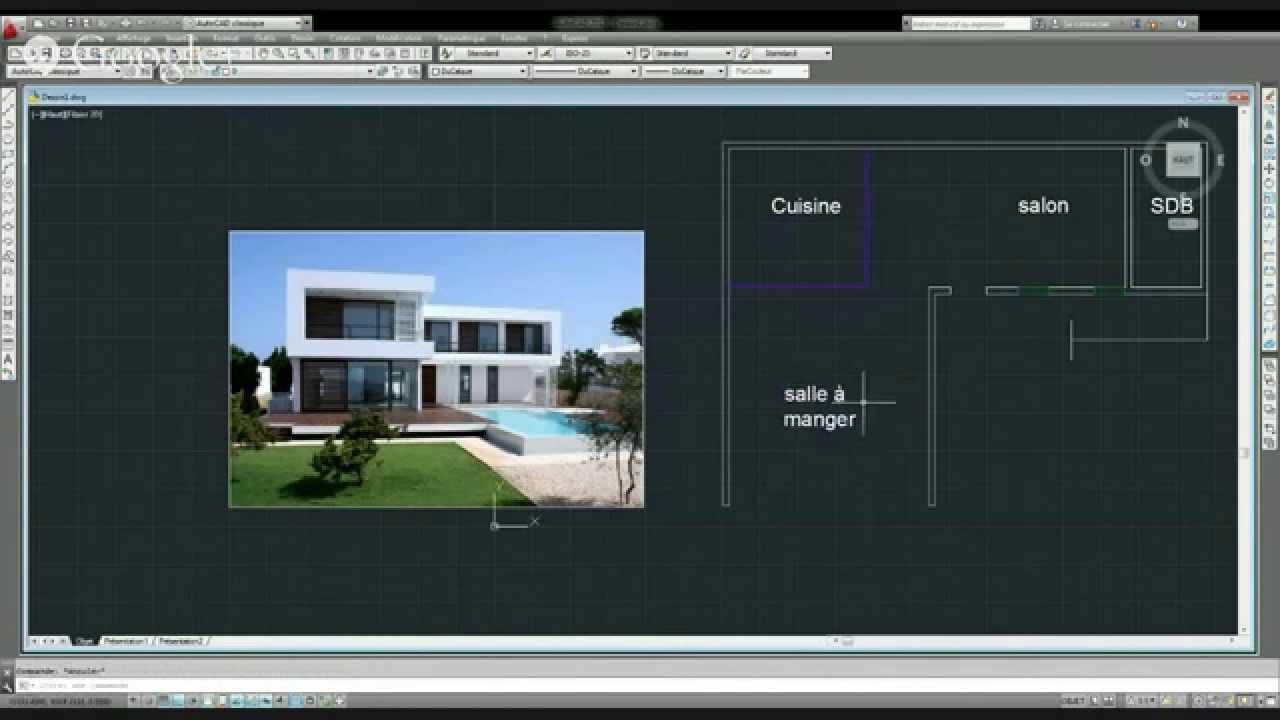 Mod lisation en 3d d 39 une maison moderne en direct avec for Modelisation maison 3d