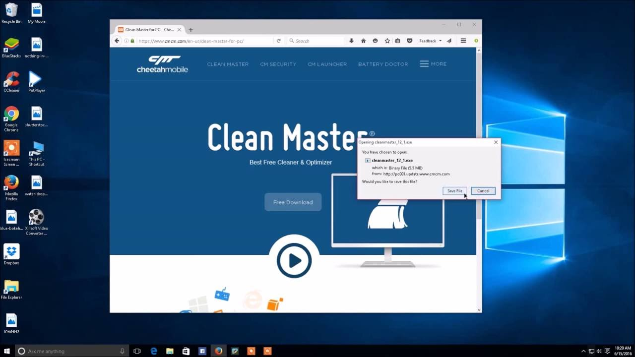 Download & install clean master for your computer / laptop (free.