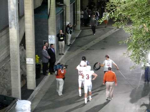 Colt McCoy and Garrett Gilbert enter the Rose Bowl Jan. 7, 2010.