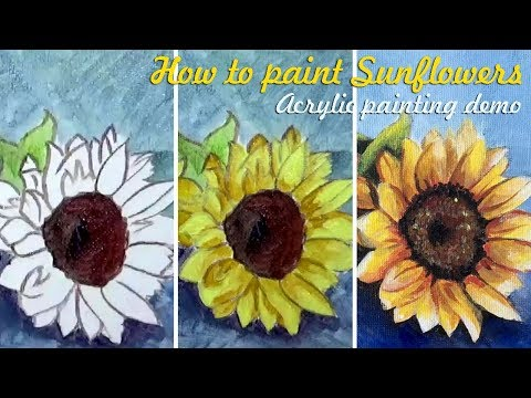 How to paint Sunflowers | Full Version | acrylic painting demo