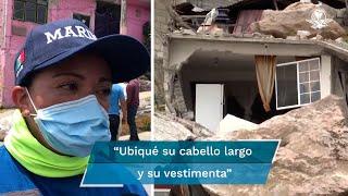Rubí Fonseca fue la rescatista que accedió por un hueco de unos 30 centímetros a la vivienda sepultada por las rocas, continúan trabajos de rescate para localizar a Paola de 22 años y Jorge de 5