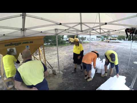 Cleveland Depot sand bag preparation for Cyclone Marcia