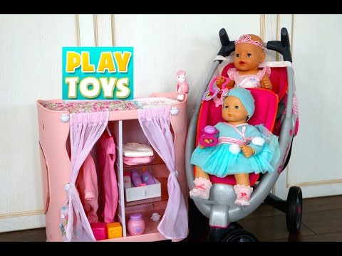 Thumbnail: Playing with cute Baby Doll playset for girls - Diaper change and doll dress with twin stroller toy