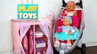 Playing with cute Baby Doll playset for girls - Diaper change and doll dress with twin stroller toy