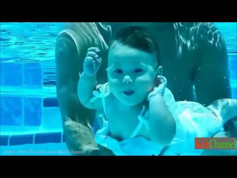 Swimming pool for babies . Infant swim training .Infants learning to swim